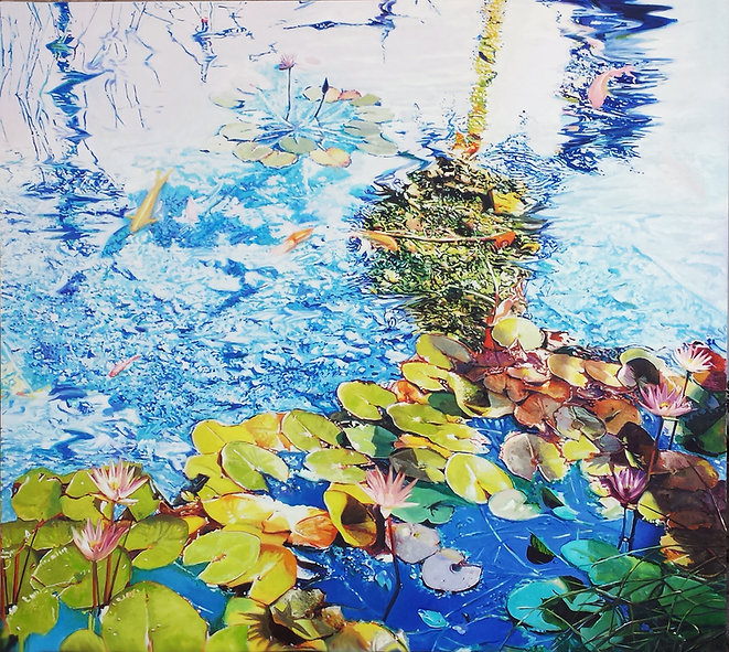 water lilys with a blue reflection 100X1