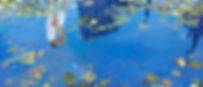 The Kiss - A reflection in a city Lily pond, oil on canvas, 60X150 cm