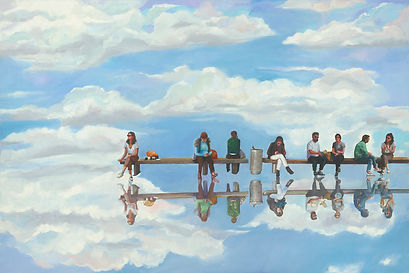 'Waiting for a moment of change, Nurit Shany Art, Parallel Realities series, an oil painting of a group of people sitting in the sky and their spiritualreflection, collective and gallery art