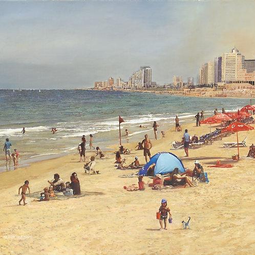 Tel Aviv Sea Shore with a blue umbrella_ no 524_ 100X100 cm