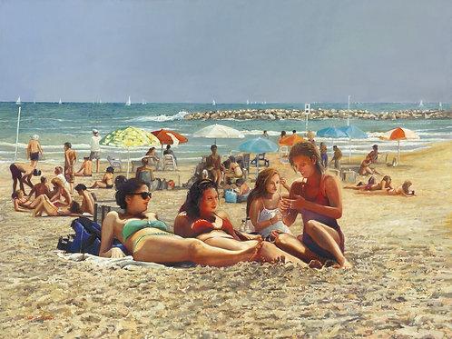 Tel Aviv Sea Shore_ no 520_girlfriends, 100X100cm