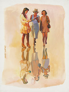 Nurit Shany Art, Parallel Realities series, an oil painting of three women and their spiritual reflection, collective and gallery art