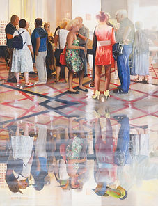 Hidden thoughts, Nurit Shany Art, Parallel Realities series, an oil painting of a group of people talking and wearing birds masks in their reflection, collective and gallery art