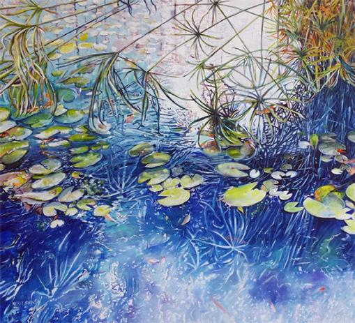 A city Lily pond, oil on canvas, 100X100 cm