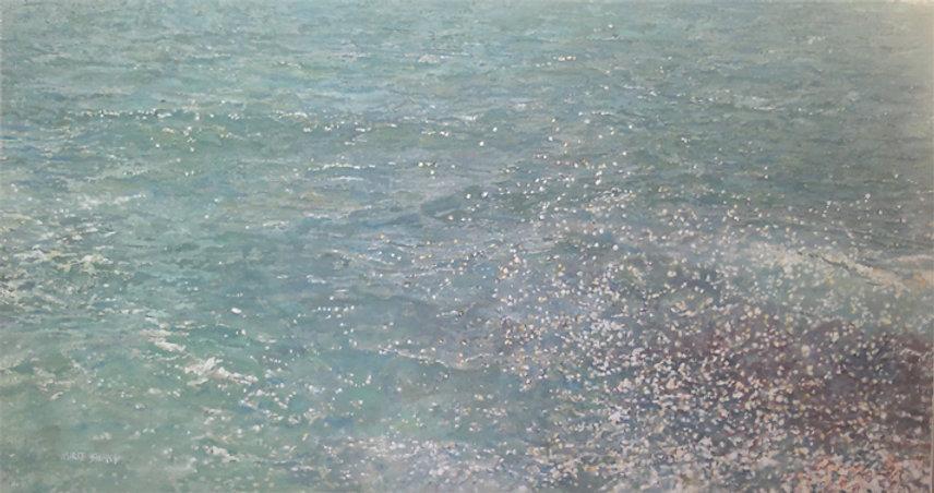 blue sea, nurit shany, oil on canvas,  1