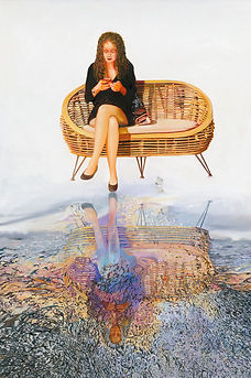 Nurit Shany Art, Parallel Realities series, an oil painting of a young woman with a cell phone and a butterfly looking into her reflection, collective and gallery art