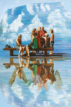 'Fluttering souls', Nurit Shany Art, Parallel Realities series, an oil painting of a group of people talking showing their spiritual wings in their reflection, collective and gallery art