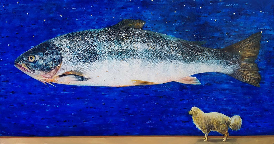 The big Salmon and my beloved dog, 250X1