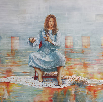 Nurit Shany, 'The story of the widowed bride' 100X110 cm, contenporary oil painting from the installation series
