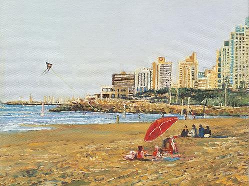 Tel Aviv Sea Shore with a red umbrellas_ no 546_ 100X100cm