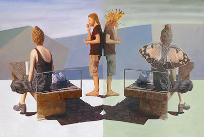 Infatuation Nurit Shany Art, Parallel Realities series, an oil painting of a young woman and a young man reflected with a bird mask and butterfly wings, collective and gallery art