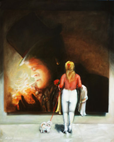 Nurit Shany, 'The theatre dresser with a small white dog' 100X100 cm, contenporary oil painting from the installation series