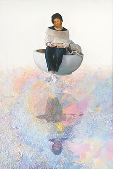 Nurit Shany Art, Parallel Realities series, an oil painting of a young woman with a cell phone looking into her reflection, collective and gallery art