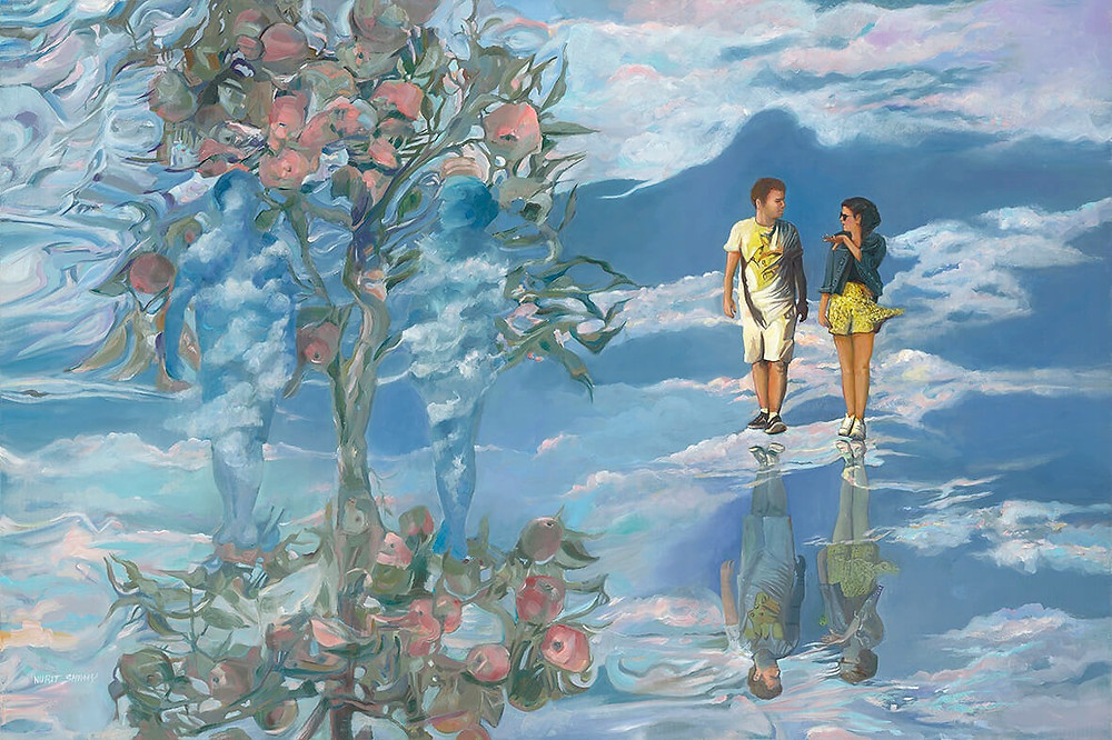 An Apple tree with two celestial beings and a couple and its asymmetrical reflection