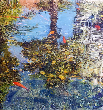 Fish in a reflection in a city Lily pond, oil on canvas, 100X100cm