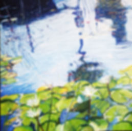 A reflection in a city Lily pond, oil on canvas, 50X50cm