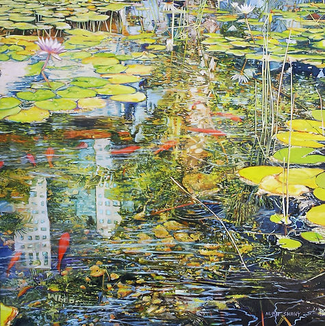A reflection in a city Lily pond, oil on canvas, 100X100cm