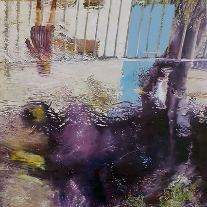 A morning strole - A reflection in a city pond, oil on canvas, 60X150 cm