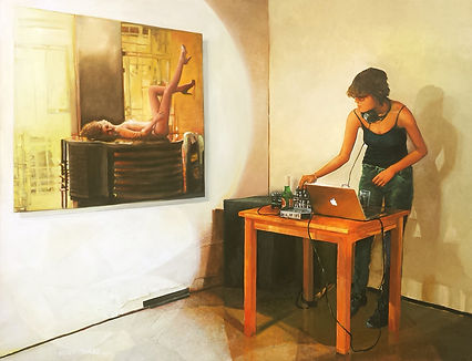 Nurit Shany, 'The DJ', 100X140 cm, contenporary oil painting from the installation series