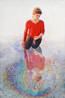 Nurit Shany Art, Parallel Realities series, an oil painting of a young woman with a red shirt looking into her reflection, collective and gallery art