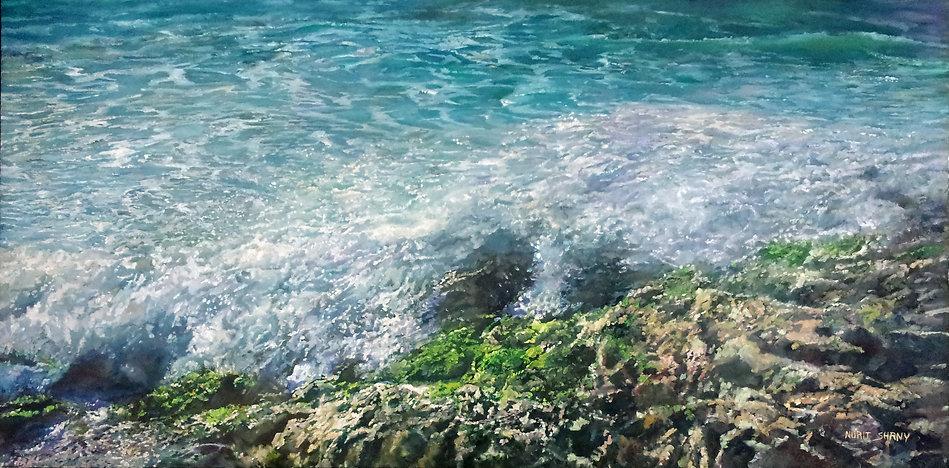 a blue sea with green rocks 80X160 cm 30
