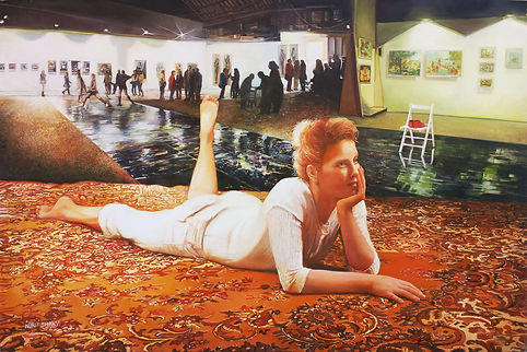 Nurit Shany, 'Performance with ornaments and fire', 100X150 cm contenporary oil painting from the installation series