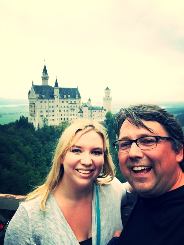 C and I on the last day of our German vacation at the overpass at Neuschwanstein