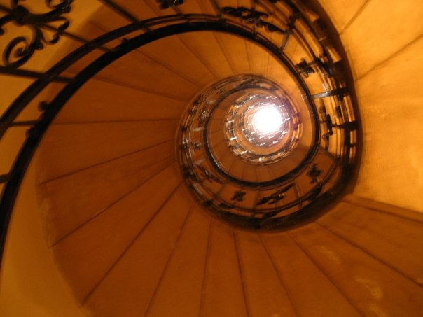 the stairs to the roof
