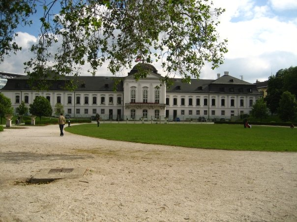 the palace from the gardens behind it