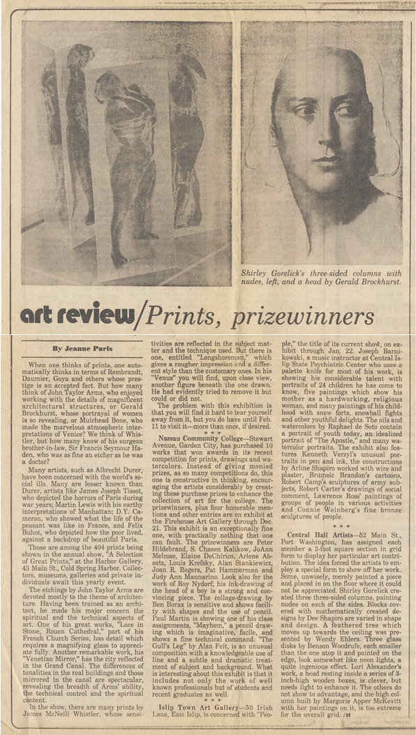 "Paris, Jeanne. ""Prints, Prizewinners."" Art Review. Newsday, December 16, 1977."