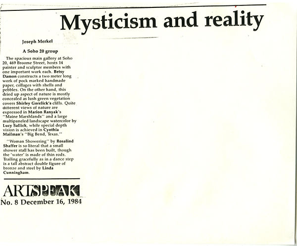 "Merkel, Joseph. ""Mysticism and Reality."" Artspeak 6, no. 8 (December 16, 1984)."