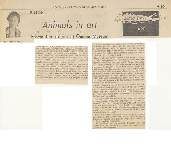 "Paris, Jeanne. ""Animals in Art: Fascinating Exhibit at Queens Museum."" Art. Long Island Press, July 7, 1974."