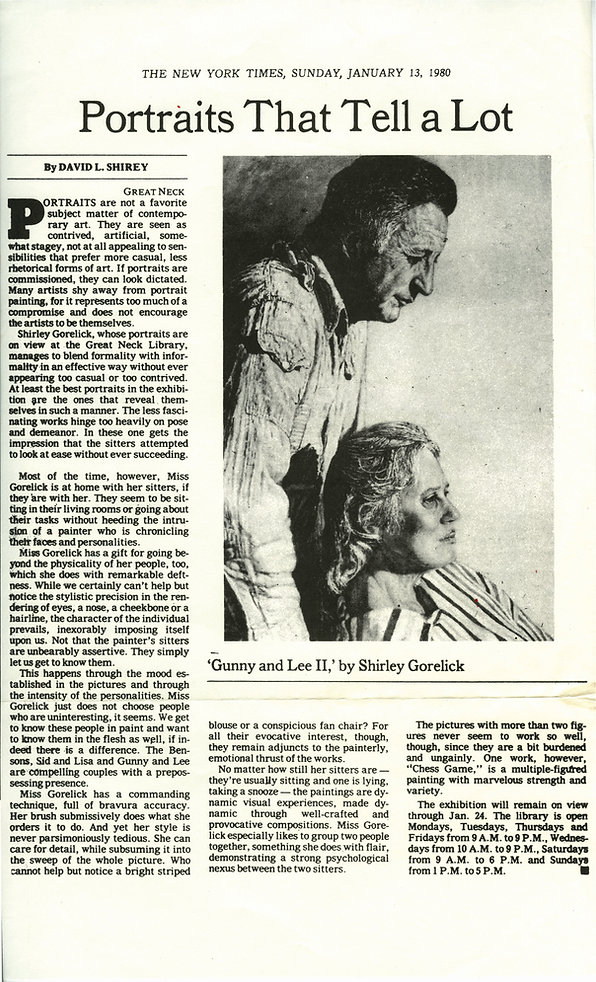 "Shirey, David L. ""Portraits That Tell a Lot."" Art. New York Times, January 13, 1980."