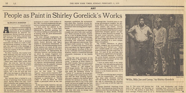 "Harrison, Helen A. "" People as Paint in Shirley Gorelick's Works."" Art. New York Times, February 11, 1979."