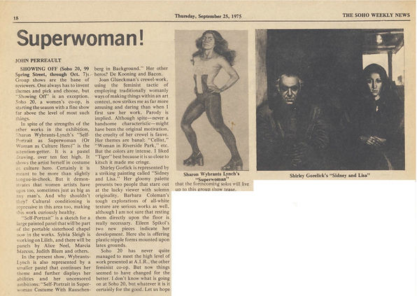 "Perreault, John. ""Superwoman!"" Art. Soho Weekly News, September 25, 1975."