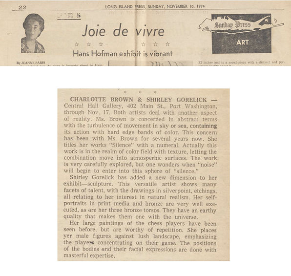 "Paris, Jeanne. ""Joie de vivre: Hans Hofmann Exhibit is Vibrant."" Art. Long Island Press, November 10, 1974."