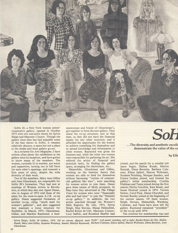 "Lubell, Ellen. ""SoHo 20."" Womanart 1, no. 1 (Summer 1976): 16–19, 30."