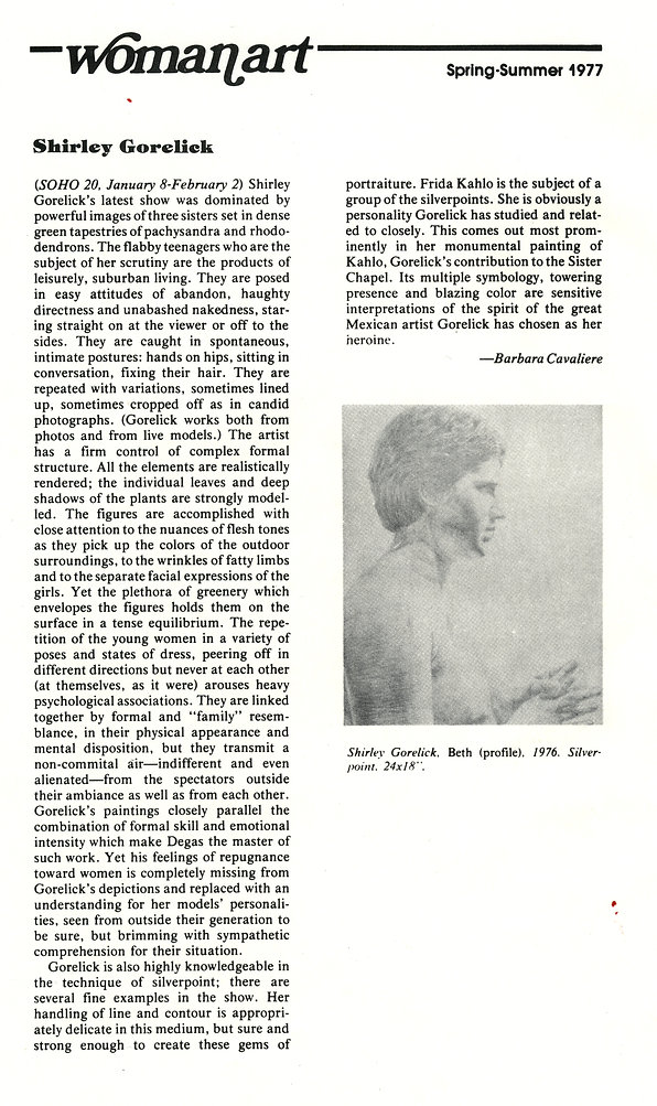 "Cavaliere, Barbara. ""Shirley Gorelick."" Reviews. Womanart 1, no. 4 (Spring-Summer 1977): 24-25."