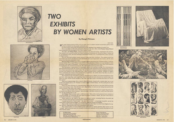 "Pittman, Margrit. ""Two Exhibits by Women Artists."" World Magazine, January 27, 1973: M6–M7."