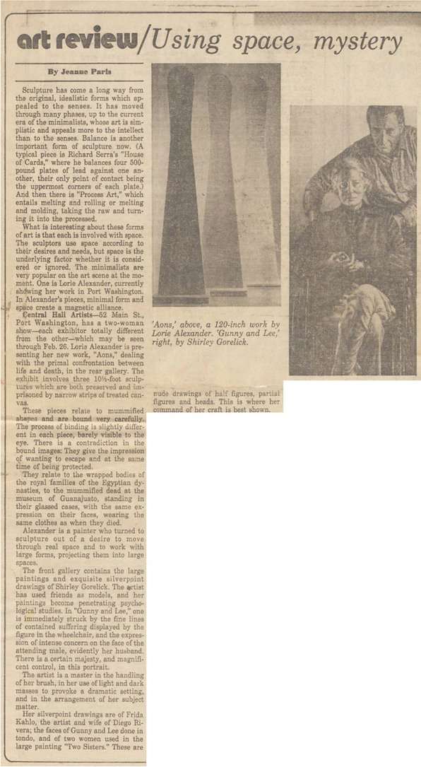 "Paris, Jeanne. "" Using Space, Mystery."" Art Review. Newsday, February 3, 1978."