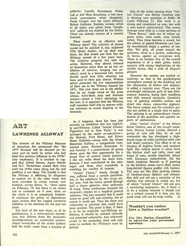"Alloway, Lawrence. ""Art."" The Nation 224, no. 5 (February 5, 1977): 156."