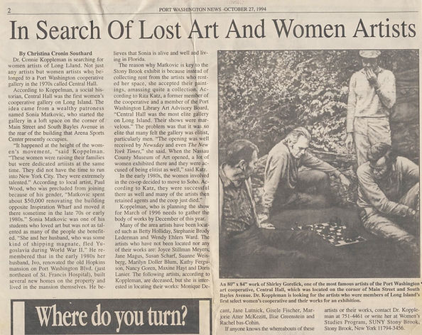 "Southard, Christina Cronin. ""In Search of Lost Art and Women Artists."" Port Washington News, October 27, 1994."