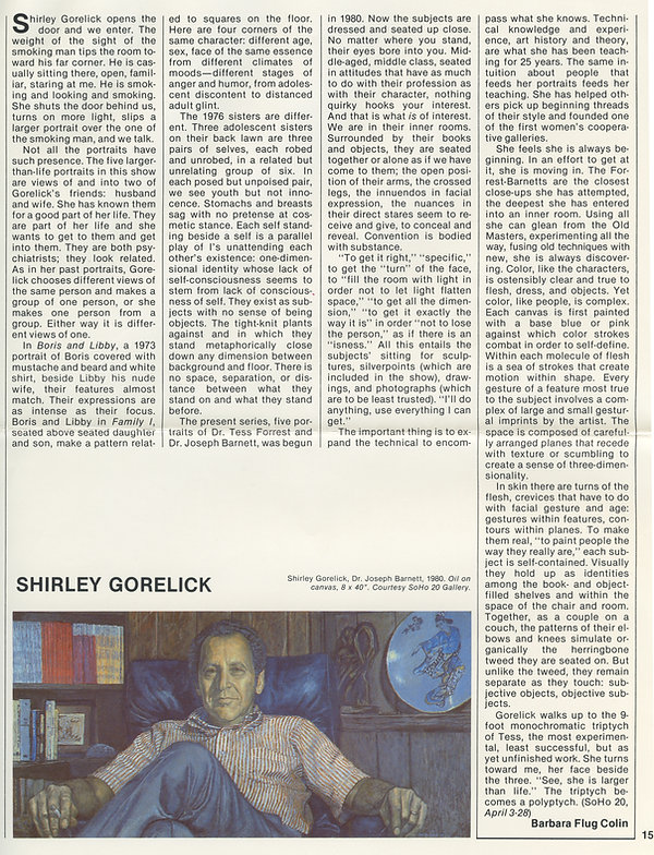 "Colin, Barbara Flug. ""Shirley Gorelick."" Arts Magazine 56, no. 8 (April 1982): 15."