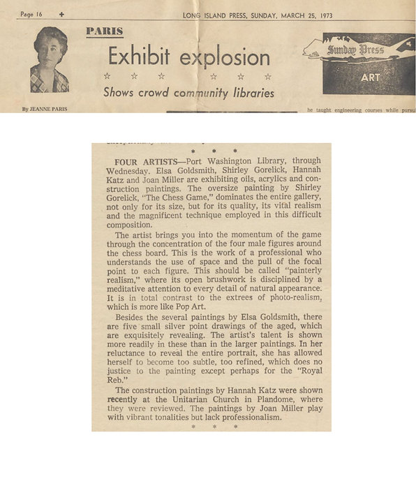"Paris, Jeanne. ""Exhibit Explosion: Shows Crowd Community Libraries."" Art. Long Island Press, March 25, 1973."