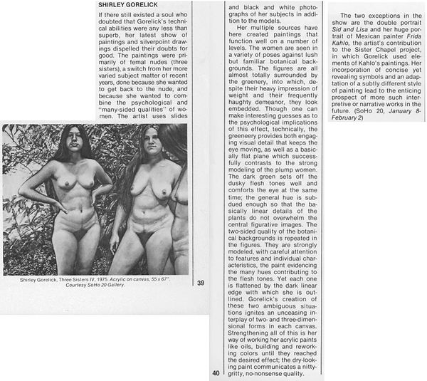 "Lubell, Ellen. ""Shirley Gorelick."" Arts Reviews. Arts Magazine 51, no. 7 (March 1977): 39–40."