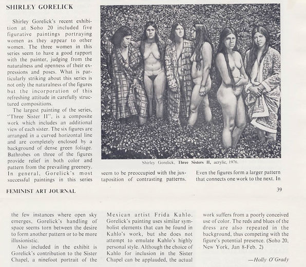 "O'Grady, Holly. ""Shirley Gorelick."" Exhibition Reviews. Feminist Art Journal 6, no. 1 (Spring 1977): 39–40."
