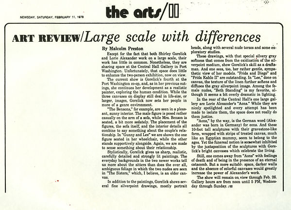 "Preston, Malcolm. ""Large Scale with Differences."" Art Review. Newsday, February 11, 1978."