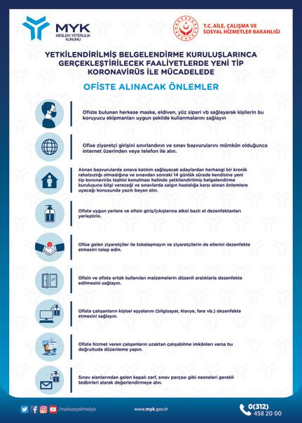 Yetkilendirilmiş Belgelendirme Kuruluşlarınca Gerçekleştirilecek Faaliyetlerde Yeni Tip Koronavirüs