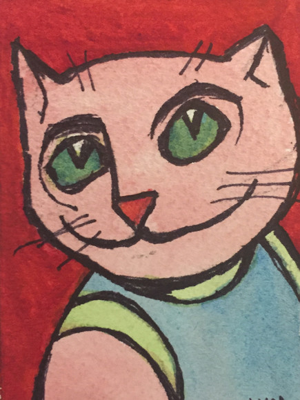 Pink Cat with Tank Top