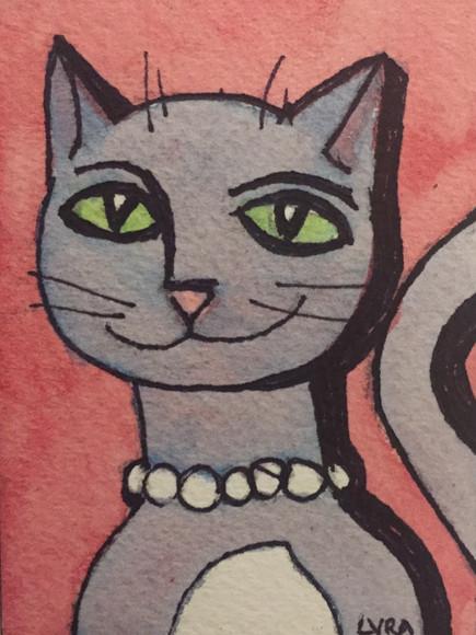 Lavender Cat with Purrrls